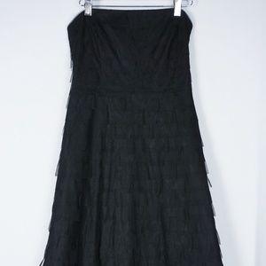 BCBGMAXAZRIA Little Black Netted Tier Dress Sz 6